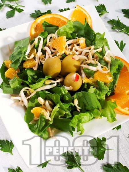 Зелена салата с портокал и соеви кълнове - снимка на рецептата